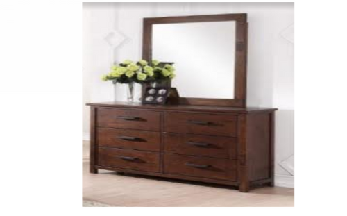 FARMHOUSE DRESSER & MIRROR WITH 6 DRAWERS - TUSCAN CHESTNUT (FROM MELBOURNE)