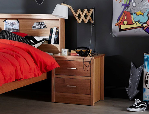 GEMINI BEDSIDE WITH 2 DRAWERS - TASSIE OAK