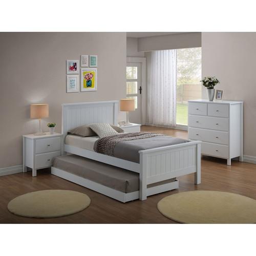 EMPRESS SINGLE 4 PIECE HARDWOOD / MDF BEDROOM SUITE WITH SINGLE FANTASTIC TRUNDLE - (2-18-15-4-9-5) - WHITE