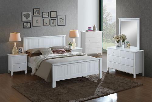 EMPRESS KING 5 PIECE HARDWOOD / MDF DRESSER  BEDROOM SUITE (2-18-15-4-9-5) - WHITE