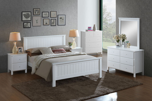EMPRESS DOUBLE OR QUEEN  5 PIECE HARDWOOD / MDF DRESSER  BEDROOM SUITE (2-18-15-4-9-5) - WHITE
