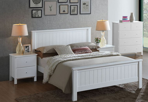 EMPRESS DOUBLE OR QUEEN  4 PIECE HARDWOOD / MDF TALLBOY  BEDROOM SUITE (2-18-15-4-9-5) - WHITE