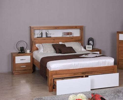 DESTINY  QUEEN  HARDWOOD TIMBER 3 PIECE BEDSIDE BEDROOM SUITE (8-1-12-5) - NATURAL / WHITE