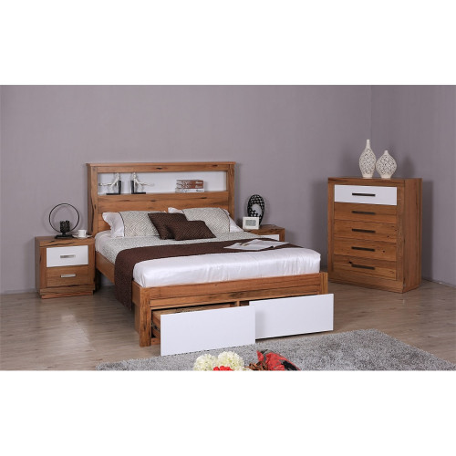 DESTINY  QUEEN  HARDWOOD TIMBER 4 PIECE  TALLBOY  BEDROOM SUITE (8-1-12-5) - NATURAL / WHITE
