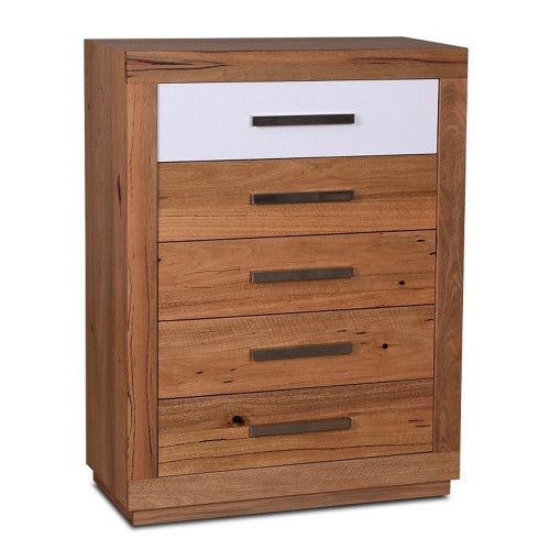 DESTINY  5  DRAWERS  HARDWOOD TIMBER  TALLBOY CHEST -  (8-1-12-5) -1170(H) X 900(W) - NATURAL / WHITE