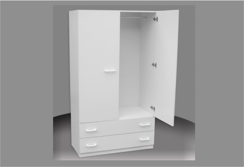 CHILDS WARDROBE (CW800-D) 2 DOOR / 2 DRAWER WITH METAL RUNNERS -1800(H) X 800(W) - ASSORTED COLOURS AVAILABLE