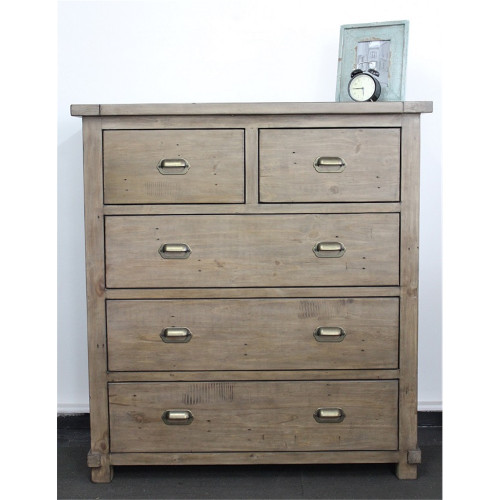 ADLER  5 DRAWERS  RECYCLED TIMBER  TALLBO CHEST - (5-13-16-9-18-5) - WEATHERED GREY