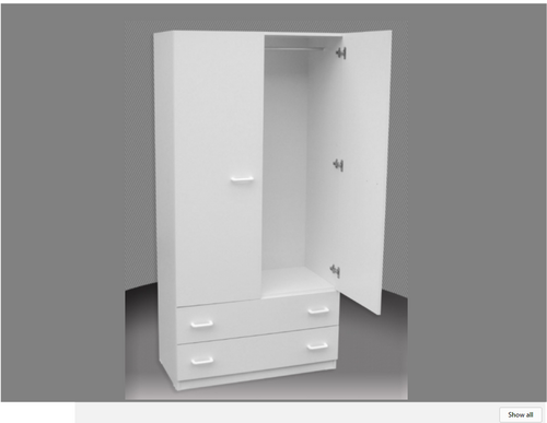2FT CHILDS WARDROBE (CW24D-D) 2 DOOR / 2 DRAWER WITH METAL RUNNERS -1800(H) X 600(W) - ASSORTED COLOURS AVAILABLE  - DUPLICATE