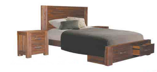 EMILY  QUEEN 3 PIECE BEDSIDE BEDROOM SUITE WITH 2 UNDER BED STORAGE DRAWERS