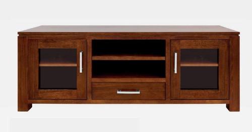 GRACE HARDWOOD TV UNIT  WITH 2 DOORS , 1 DRAWER , 2 NICHES - (19-15-6-9-1) - 600(H) X 1500(W)- BLACKWOOD OR WALNUT