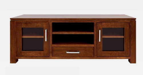 GRACE HARDWOOD TV UNIT  WITH 2 DOORS , 1 DRAWER , 2 NICHES - (19-15-6-9-1) - 600(H) X 1500(W)- BLACKWOOD OR WALNUT