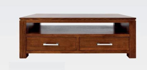 GRACE (2) TWO DRAWER TASMANIAN OAK  COFFEE TABLE - (19-15-6-9-1)-  450(H) X 1200(W X 600(D) BLACKWOOD OR WALNUT