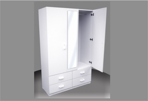 4FT CHILDS WARDROBE (CW48-D) (EXCLUDING MIRROR) - 4 DRAWERS WITH METAL RUNNERS -  1800(H) X 1200(W) -  ASSORTED COLOURS AVAILABLE
