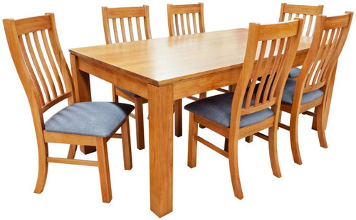 GRACE  7 PIECE  TASMANIAN OAK HARDWOOD DINING SETTING 1800(L) X 1000(W) - (19-15-6-9-1)- BLACKWOOD OR WALNUT
