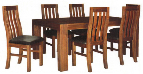 EMILY 7 PIECE  ACACIA HARDWOOD /LEATHERETTE DINING  SETTING 1800(L) X 1050(W)