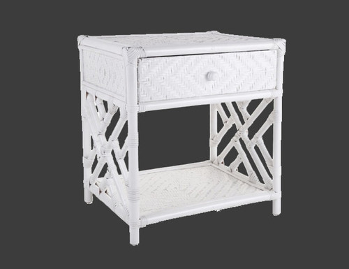 RATTAN (DET271) SINGLE DRAWER BEDSIDE TABLE - WHITE