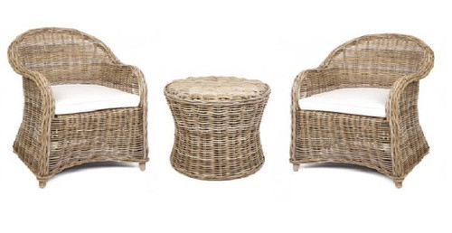 ROMA RATTAN 3 PIECE INDOOR / OUTDOOR SETTING - KUBU GREY OR GREY WASH