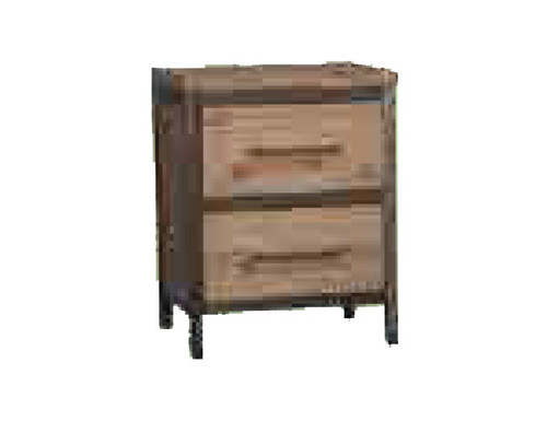 CEMBER 2 DRAWERS  ACACIA HARDWOOD BEDSIDE TABLE - ( 16-15-18-20-12-1-14-4) - WALNUT