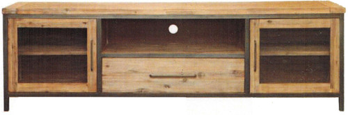 CEMBER HARDWOOD TV UNIT  WITH 2 DOORS , 1 NICHE , 1 DRAWER - ( 16-15-18-20-12-1-14-4) -   680(H) X 2190(W) - WALNUT