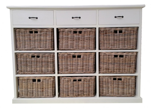 BENCER (DRT789L) STORAGE CHEST WITH 9 BASKETS & 3 WOODEN DRAWERS  - KUBU GREY / WHITE FRAME
