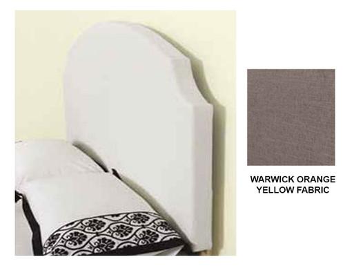 GLENBROOK KING SINGLE FABRIC BEDHEAD WITH DESIGNER COVER (B FABRIC) - WARWICK ORANGE/ YELLOW
