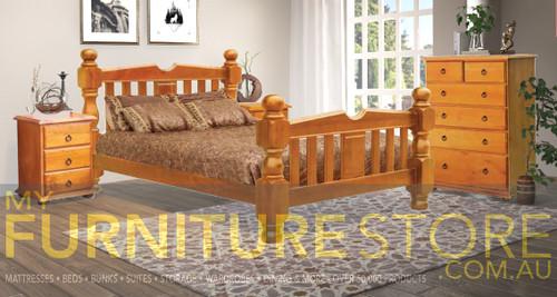 QUEEN SONEI  BED - ( 3-8-5-12-20-5-1) - WALNUT