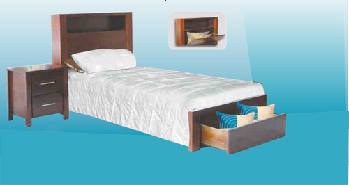 MATILDA 2 DRAWERS  BEDSIDE TABLE  (20-25-5-14-5-25 - WALNUT