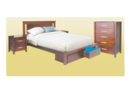 COLBY DOUBLE OR QUEEN 4 PIECE TALLBOY BEDROOM SUITE ( 2-1-12-12-1-18-1-20) - WALNUT