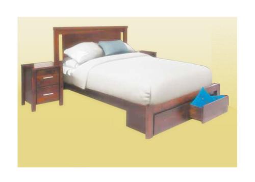 COLBY DOUBLE OR  QUEEN 3 PIECE BEDSIDE BEDROOM SUITE ( 2-1-12-12-1-18-1-20) - WALNUT