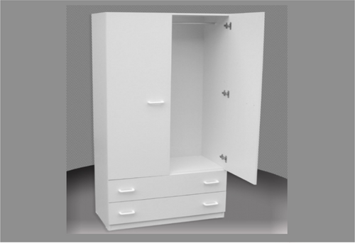 800 ADULTS WARDROBE (CW800-D) 2 DOOR / 2 DRAWER WITH METAL RUNNERS -  1800(H) X 800(W) -  ASSORTED COLOURS AVAILABLE