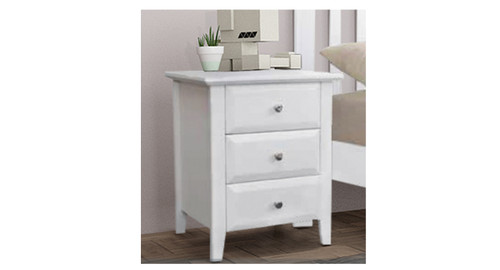 DONESS 3 DRAWERS BEDSIDE TABLE (10-5-19-19-9-3-1) - BRIGHT WHITE