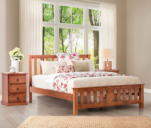 CARRINGTON DOUBLE OR QUEEN 3 PIECE BEDSIDE BEDROOM SUITE WITH STANDARD CASE GOODS - GOLDEN OAK