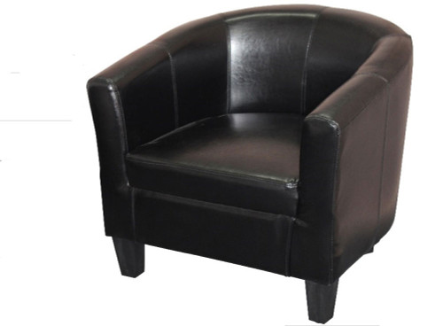 TASMAN LEATHERETTE TUB CHAIR  - BLACK