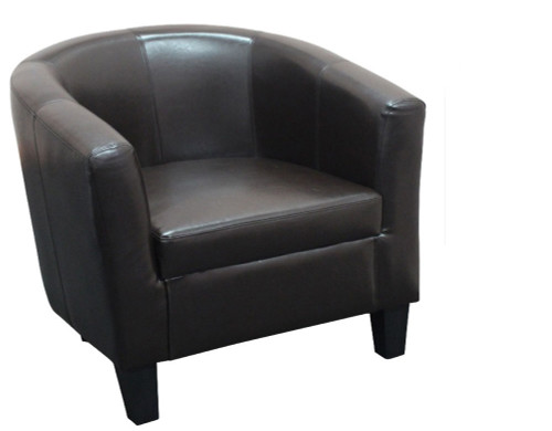 TASMAN LEATHERETTE TUB CHAIR  - BROWN