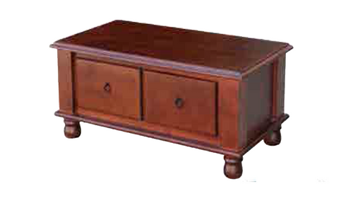 DEEONE  COFFEE TABLE WITH TWO DRAWERS / TURNED  LEGS -  1150(W) X  630(D) - WALNUT OR BLACKWOOD