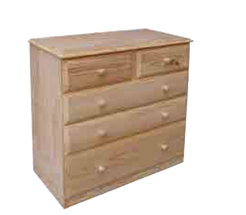 "36""  5 DRAWERS TOP SPLIT  CHEST -960(H) X 900(W) - 12"" BOTTOM - STAINED"