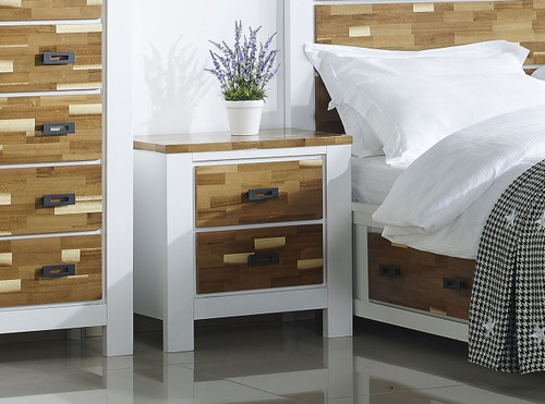 ARAN (613) BEDSIDE WITH 2 DRAWERS (MODEL 1-18-9-1) - 2 TONED NATURE/WHITE
