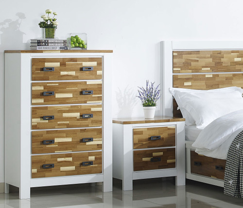 ARAN (613) TALLBOY WITH 5 DRAWERS (MODEL 1-18-9-1) -1205(H) X  800(W)- 2 TONED NATURE/WHITE