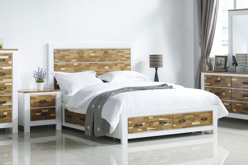 ARAN (613) QUEEN 3 PIECE BEDSIDE BEDROOM SUITE WITH 4 UNDERBED DRAWERS (MODEL 1-18-9-1) - 2 TONED NATURE/WHITE