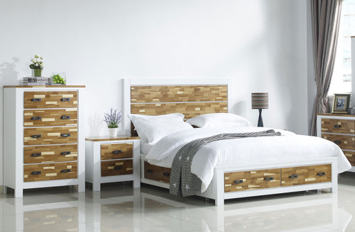 ARAN (613) QUEEN 4 PIECE TALLBOY BEDROOM SUITE WITH 4 UNDERBED DRAWERS (MODEL 1-18-9-1) - 2 TONED NATURE/WHITE