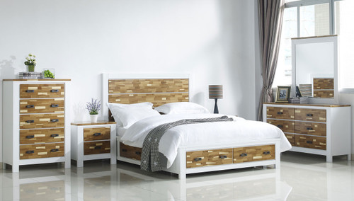ARAN (613) QUEEN 6 PIECE (THE LOT) BEDROOM SUITE WITH 4 UNDERBED DRAWERS (MODEL 1-18-9-1) - 2 TONED NATURE/WHITE