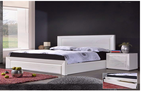GEOLAND  BEDSIDE WITH 2 DRAWERS - (MODEL 13-1-18-22-9-14) -WHITE