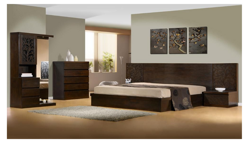 DALOON KING 5 PIECE DRESSER BEDROOM SUITE - WITH SIDE STORAGE DRAWER (MODEL 4-1- 22-9-14-3-9) - WALNUT