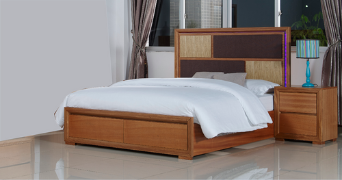 KING  DUAS (614) BED WITH LED LIGHTS ON BEDHEAD (MODEL 1-21-4-18-5-25) - MAPLE
