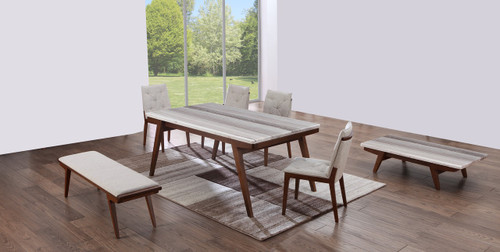 CLAUDE  (9006)   7 PIECE DINING SETTING WITH 6 CHAIRS - 1800(W) x 1000(D) TABLE (MODEL-19-9-3-9-12-25) - WALNUT