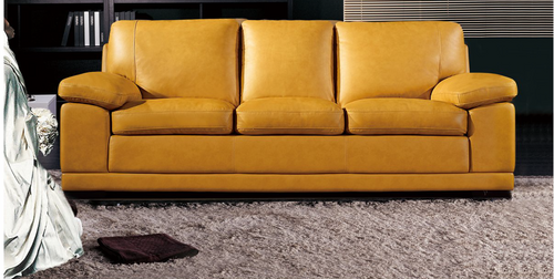 BARABOUGH  3  +  1  +  1SEATER   FULL LEATHER  LOUNGE SUITE   - (MODEL13-15-14-20-18-5-1-12) YELLOW