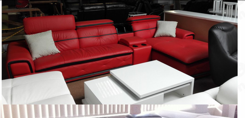 LAYLOPH   (D1363) THREE (3) SEATER +  BAR + CHAISE  - BONDED LEATHER/LEATHERETTE SUITE (MODEL 13-1-18-15-21-2-18-1) - BLACK & RED