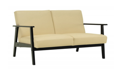 TELFORD TWO (2) SEATER   LEATHERETTE SOFA LOUNGE - CREAM