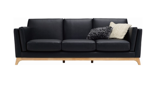 FINN THREE (3)  SEATER  SCANDINAVIAN  LETHERETTE LOUNGE- ESPRESSO