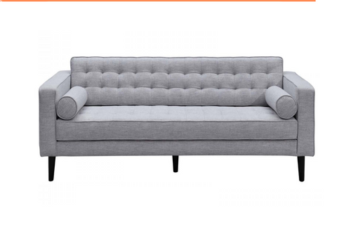 AIDEN   THREE (3)  SEATER  SCANDINAVIAN  FABRIC LOUNGE  WITH TWO CUSHIONS -  GREY